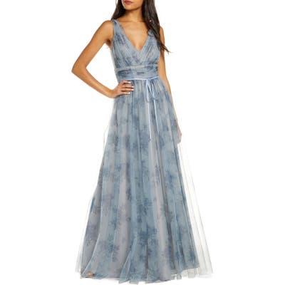 Marchesa Notte V-Neck Floral Tulle Bridesmaid Gown, Blue