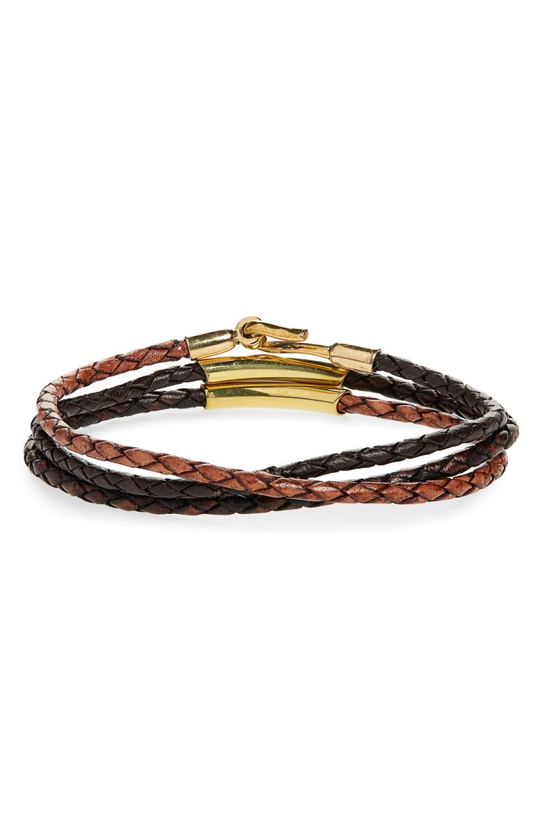 CAPUTO & CO. Braided Leather Bracelet, Main, color, BROWN COMBO/ BRASS
