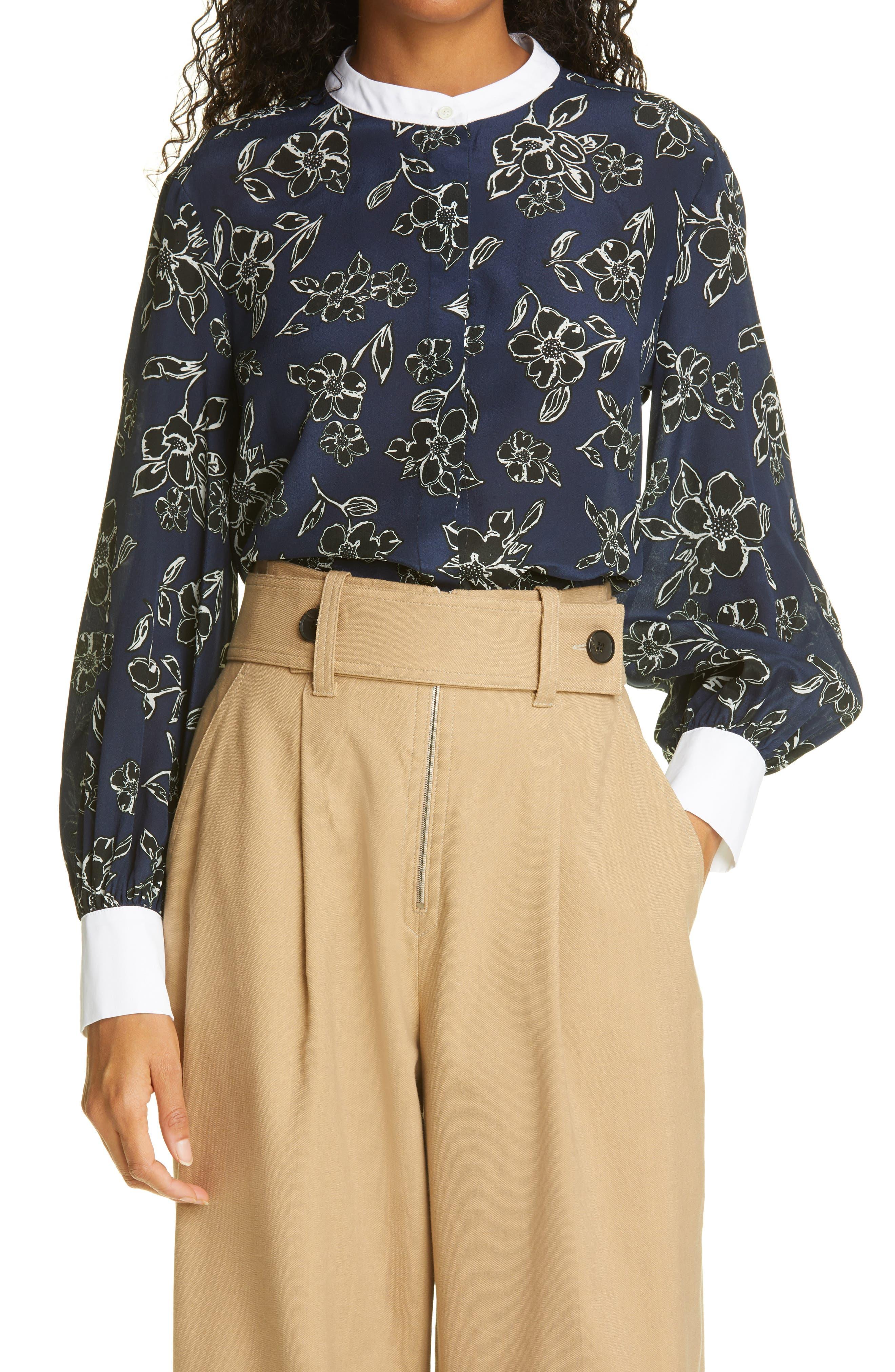 Alba Floral Silk Button-Up Blouse