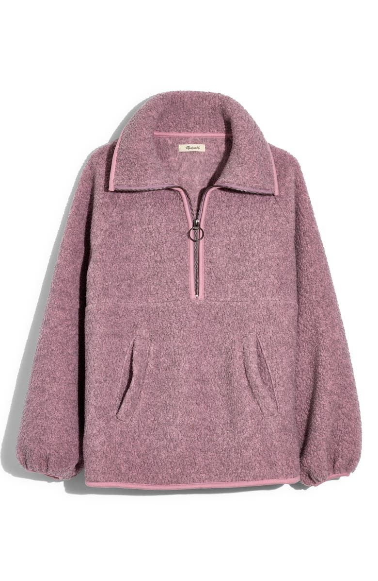 MADEWELL Recycled Polartec<sup>®</sup> Fleece Pullover Jacket, Main, color, HTHR CHERRY BLOSSOM