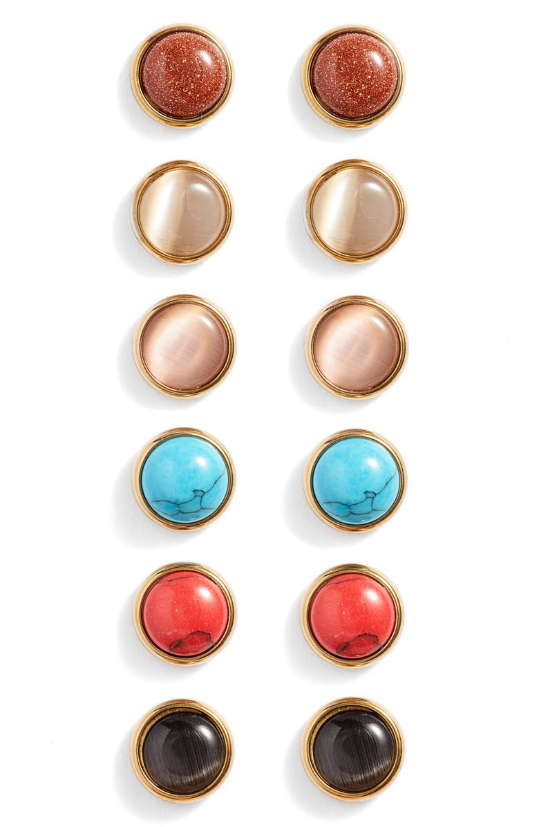 BRACHA Set of 6 Synthetic Stone Stud Earrings, Main, color, 710