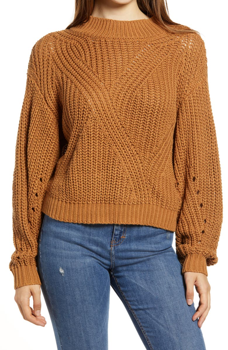 BP. Traveling Stitch Sweater, Main, color, TAN DALE