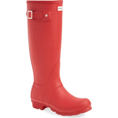 Hunter Original Tall Waterproof Rain Boot, Red
