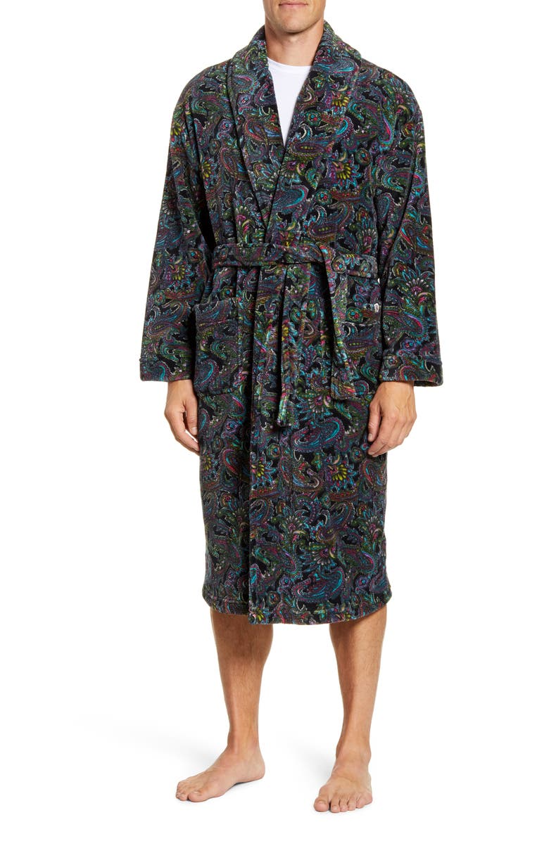 MAJESTIC INTERNATIONAL Posh Plush Robe, Main, color, BLACK