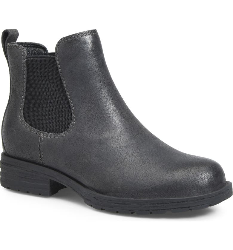 BØRN Cove Waterproof Chelsea Boot, Main, color, DARK GREY DISTRESSED LEATHER