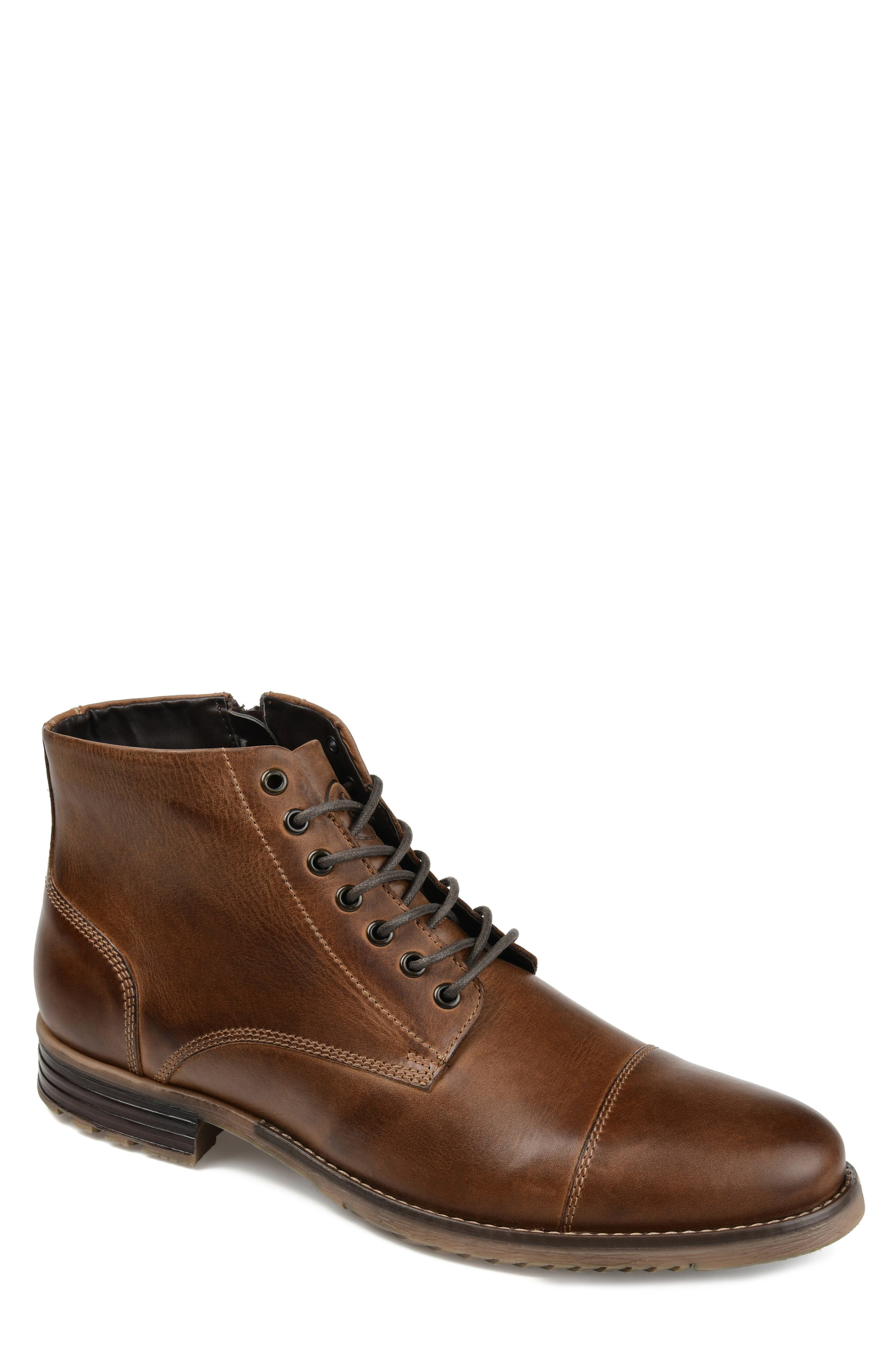 Clean lines and simple detailing define a boot crafted from polished fine-grain leather with a lightly lugged sole grounding casual, versatile look. Style Name: Thomas & Vine Barton Cap Toe Boot (Men). Style Number: 6062514. Available in stores.