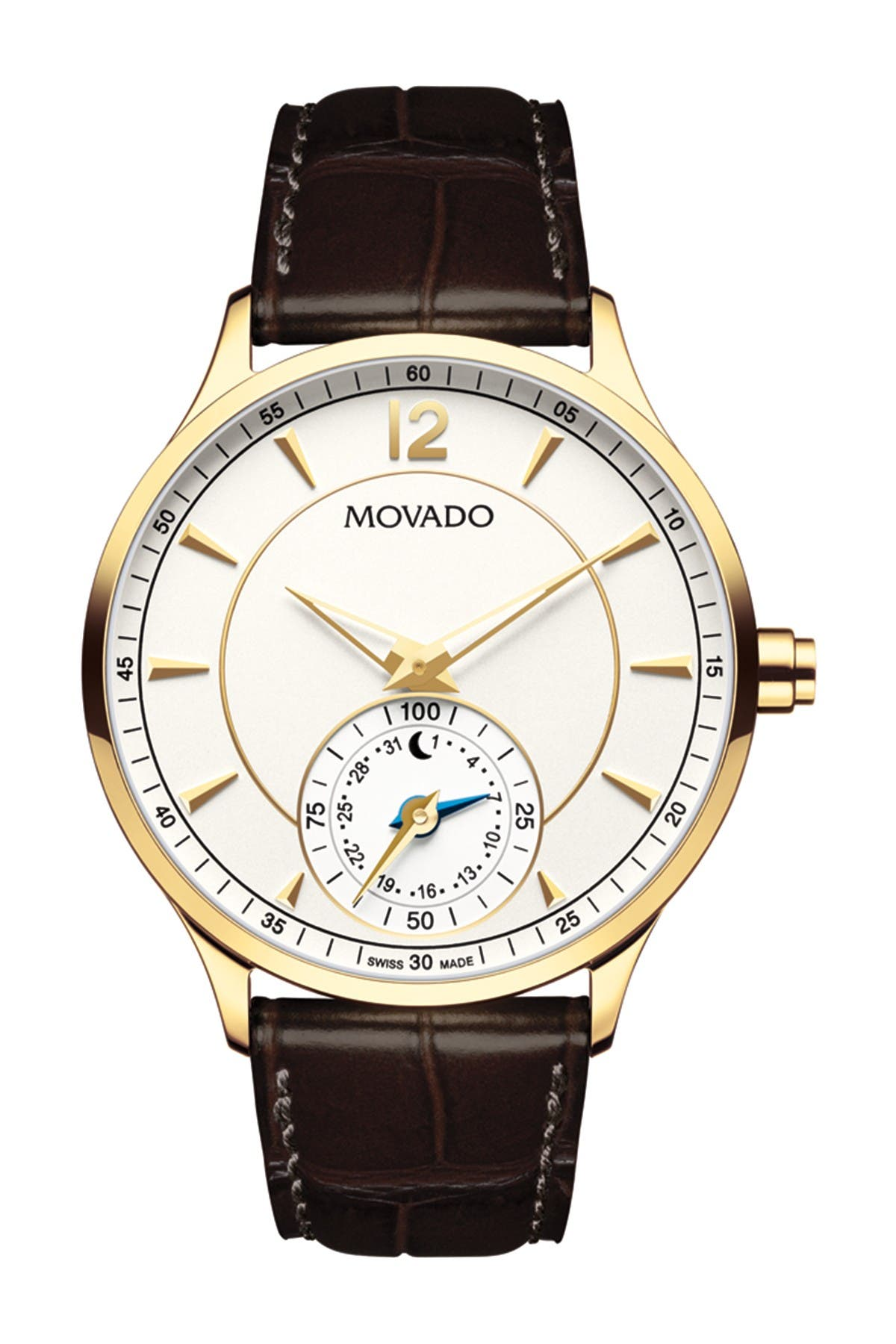 Image of Movado Men's Circa Motion Swiss Quartz Embossed Strap Watch, 42mm
