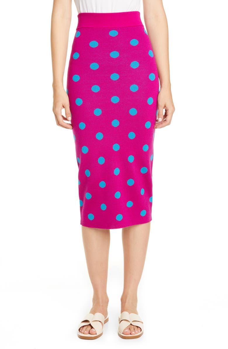 VICTOR GLEMAUD Polka Dot Jacquard Midi Skirt, Main, color, MAGENTA AND NAVY