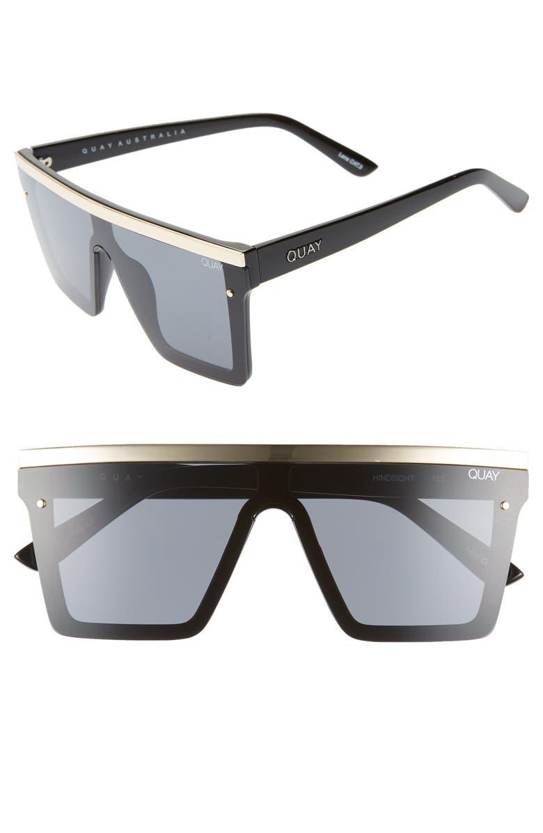 QUAY AUSTRALIA Hindsight 56mm Shield Sunglasses, Main, color, 005