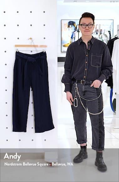 Tie Waist Crop Wide Leg Linen Pants, sales video thumbnail