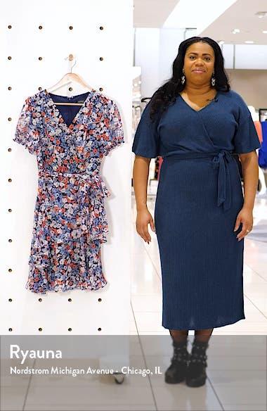 Floral Print Metallic Clip Dot Faux Wrap Dress, sales video thumbnail