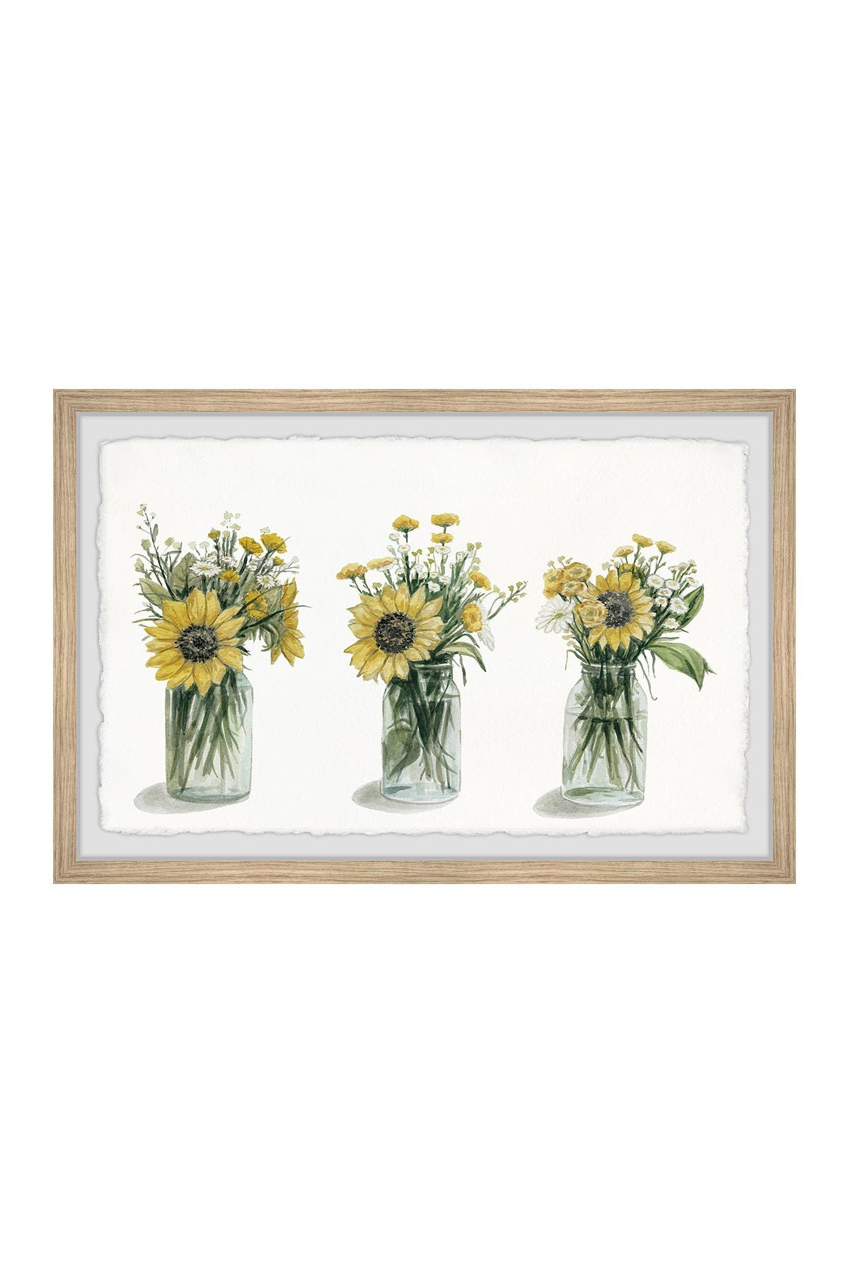 "Image of Marmont Hill Inc. Sunflowers Trio Framed Painting - 24"" x 16"""