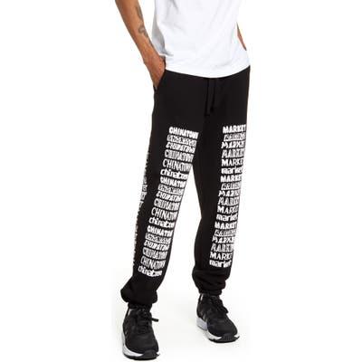 Chinatown Market Stacked Logo Sweatpants, Black