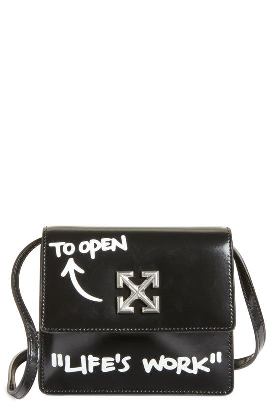 Off-white Jitney 0.7 Life's Work Leather Crossbody Bag In Black White