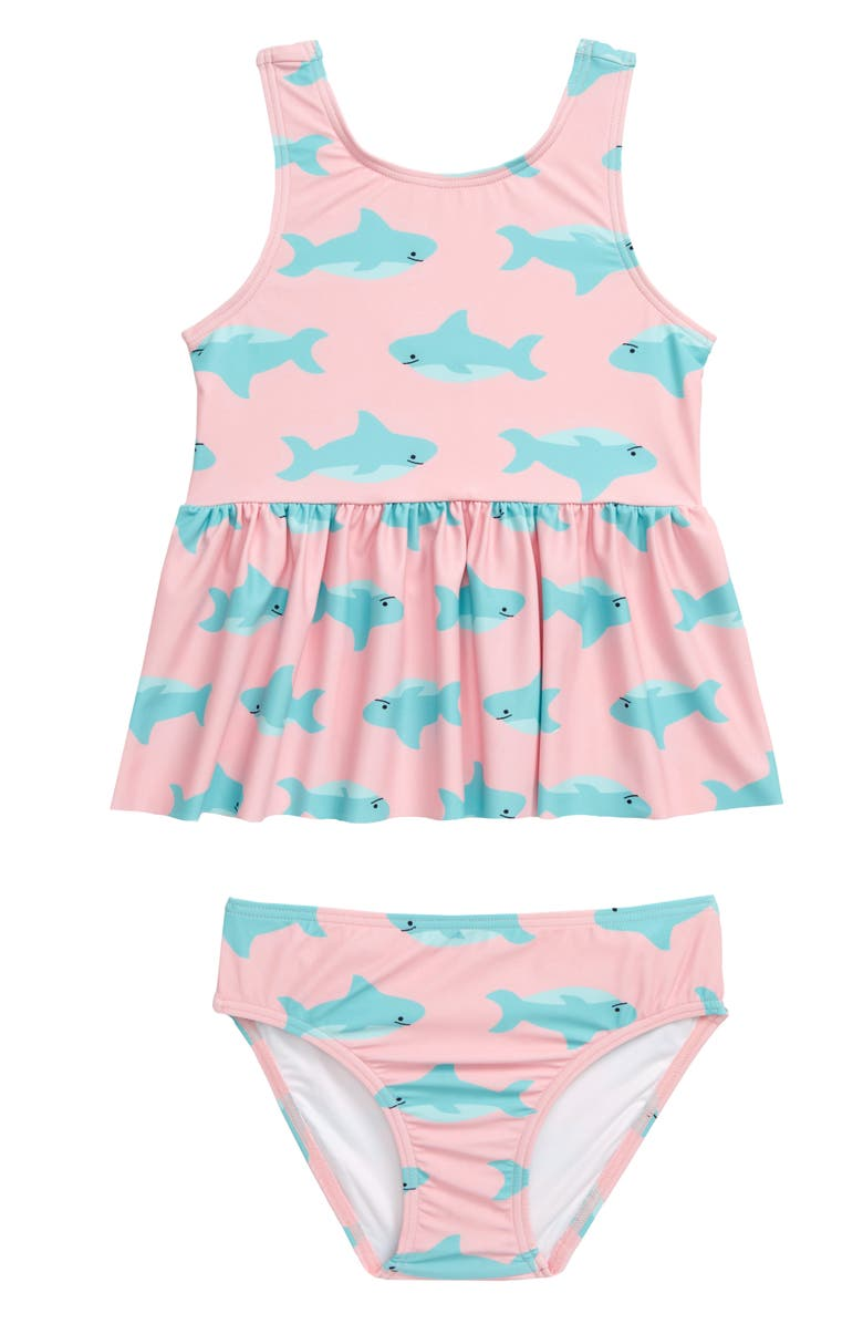 TUCKER + TATE Peplum Two-Piece Tankini Swimsuit, Main, color, PINK POWDER SHARKS