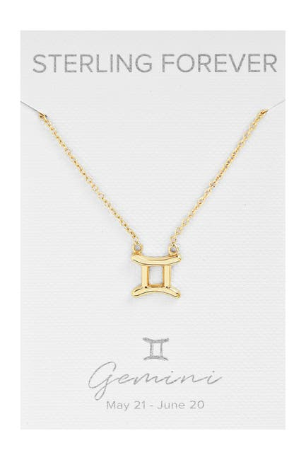 Image of Sterling Forever 14K Yellow Gold Plated Zodiac Pendant Necklace - Gemini