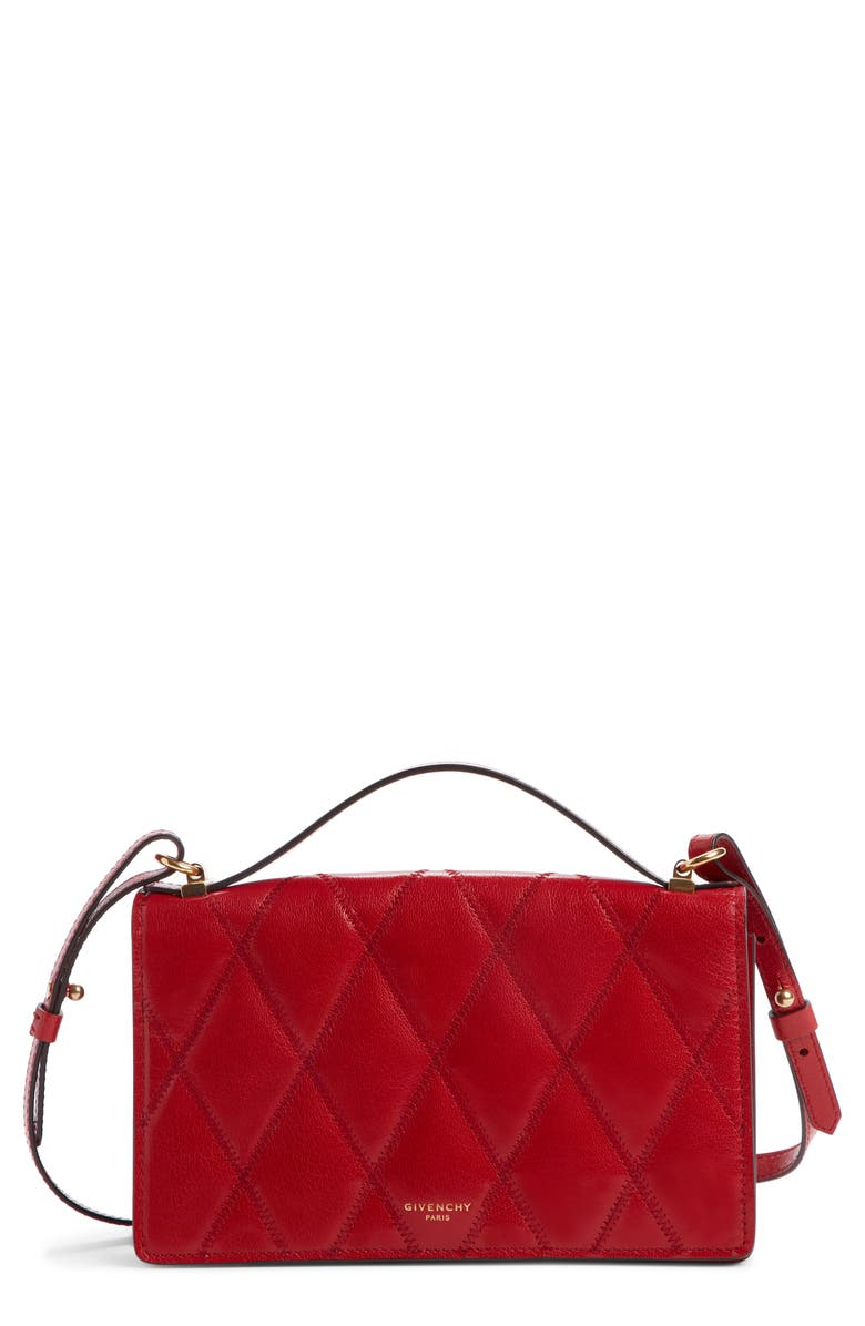 GIVENCHY GV3 Quilted Leather Wallet on a Chain, Main, color, VERMILLION