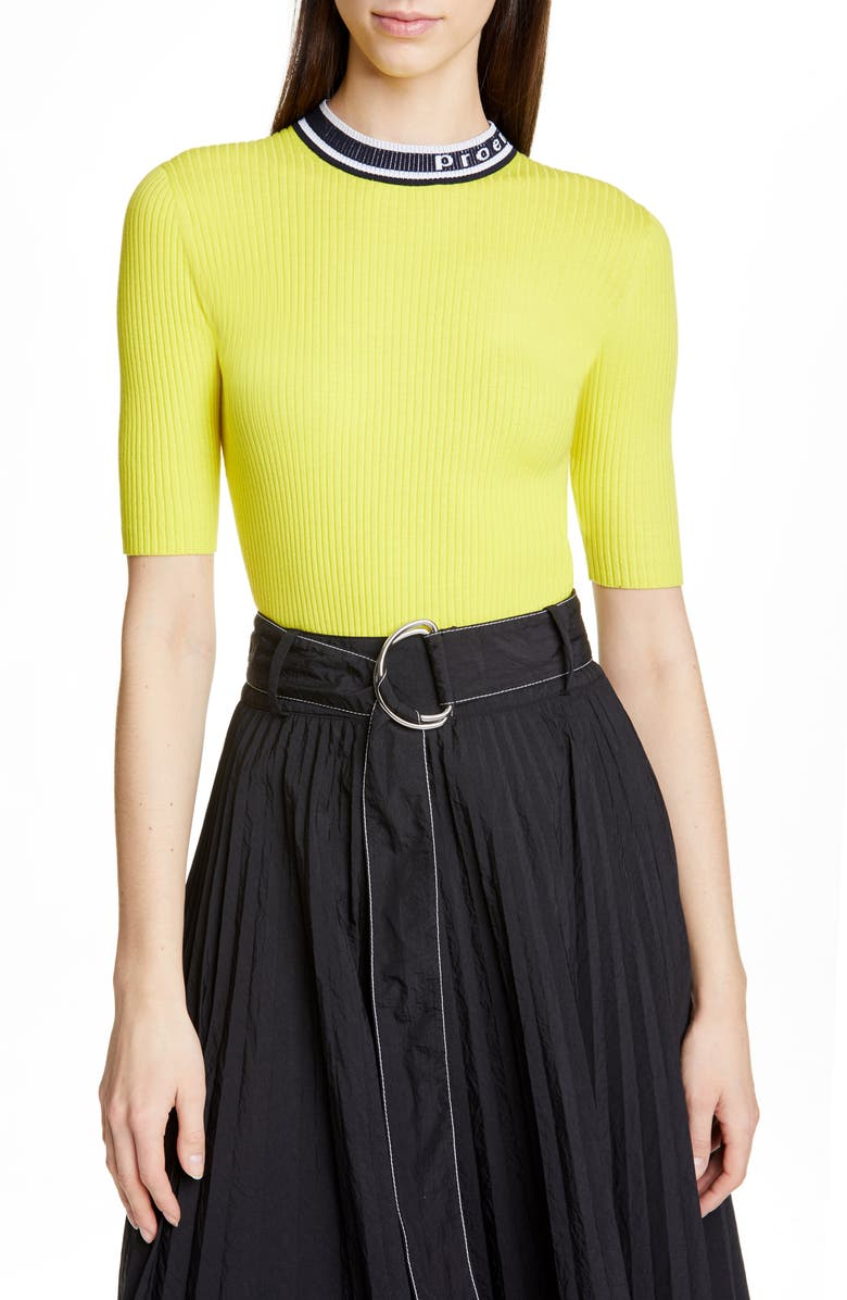PROENZA SCHOULER WHITE LABEL Proenza Schouler PSWL Ribbed Top, Main, color, YELLOW COMBO