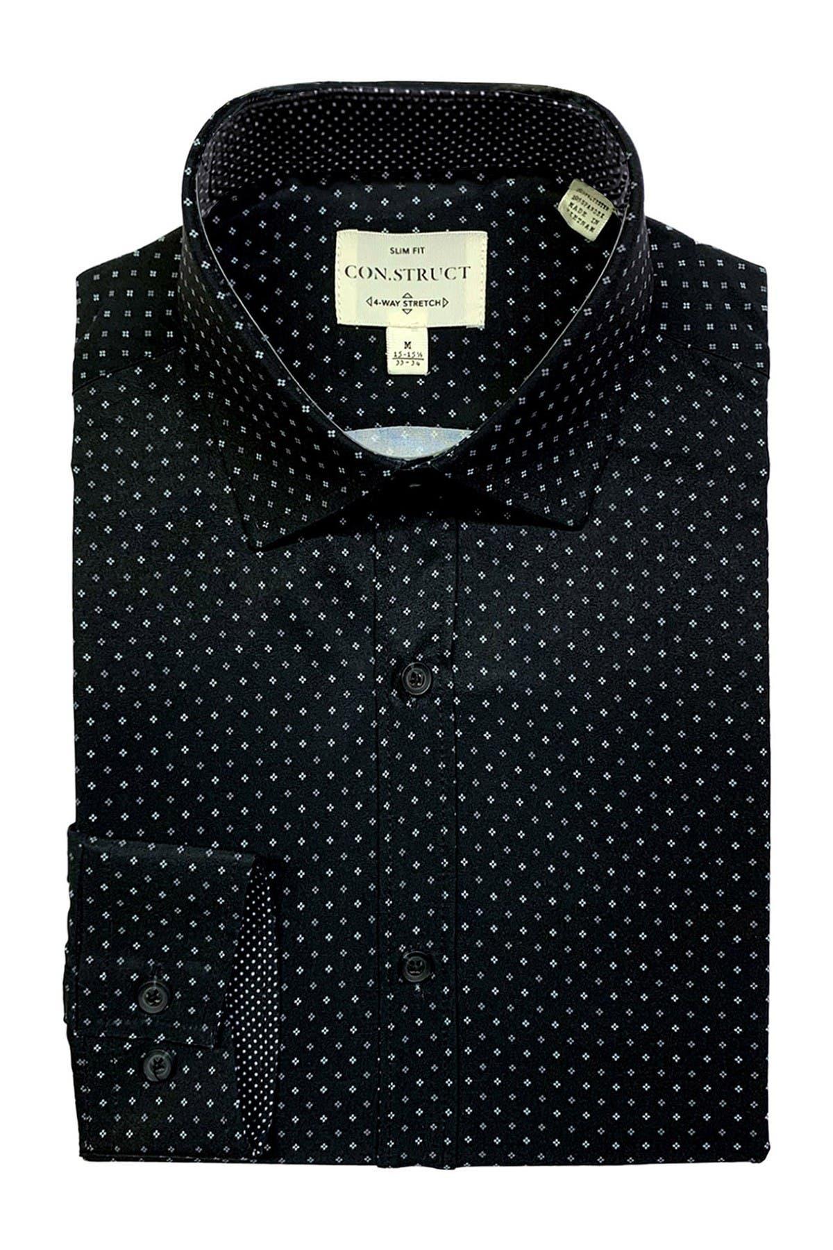 Image of CONSTRUCT 4-Way Stretch Slim Fit Ditsy Dot Print Dress Shirt