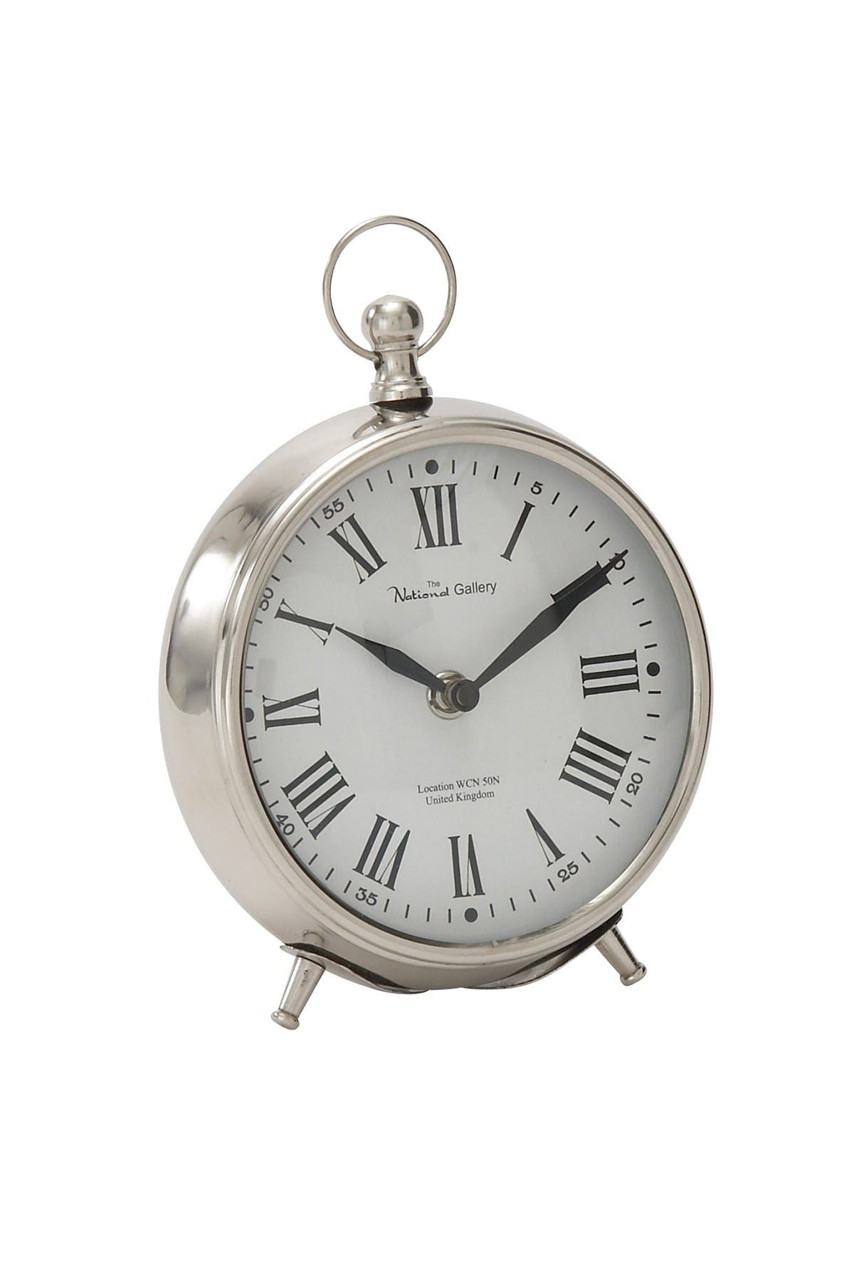 """Image of Willow Row Round Silver Stainless-Steel Table Clock - 6"""" x 7"""""""