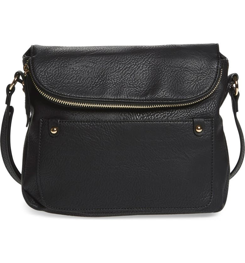 BP. Zip Flap Faux Leather Crossbody Bag, Main, color, Black