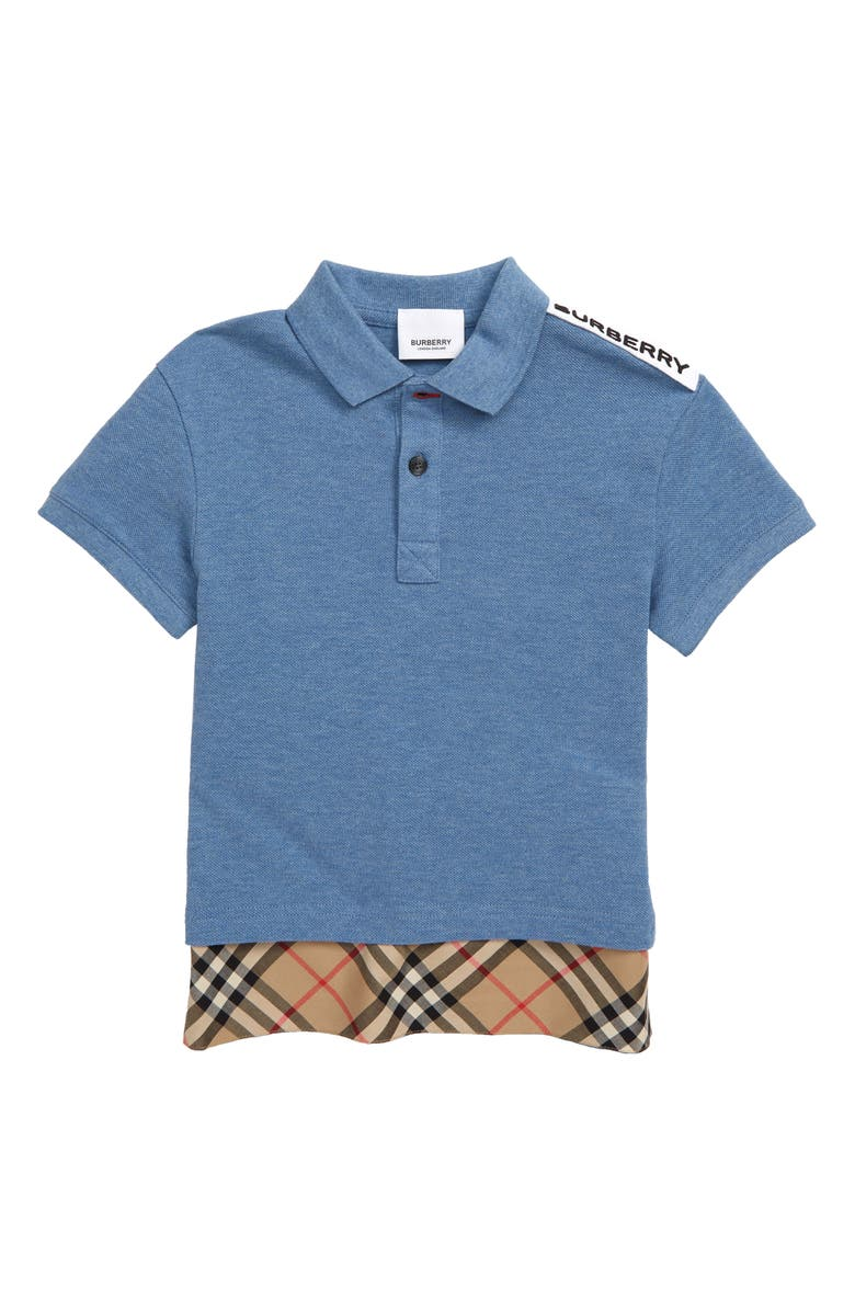 BURBERRY Hammond Piqué Polo, Main, color, DUSTY BLUE MELANGE