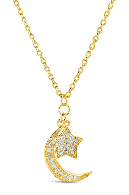 Image of Sterling Forever 14K Gold Vermeil Pave CZ Moon & Star Pendant Necklace
