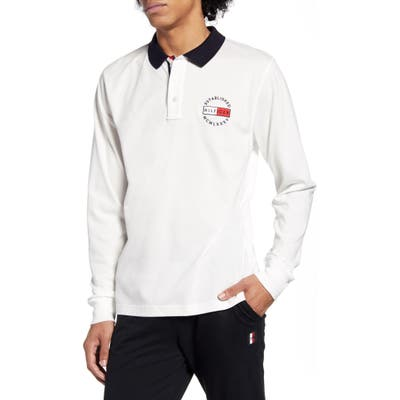 Tommy Hilfiger Logo Badge Long Sleeve Polo, White
