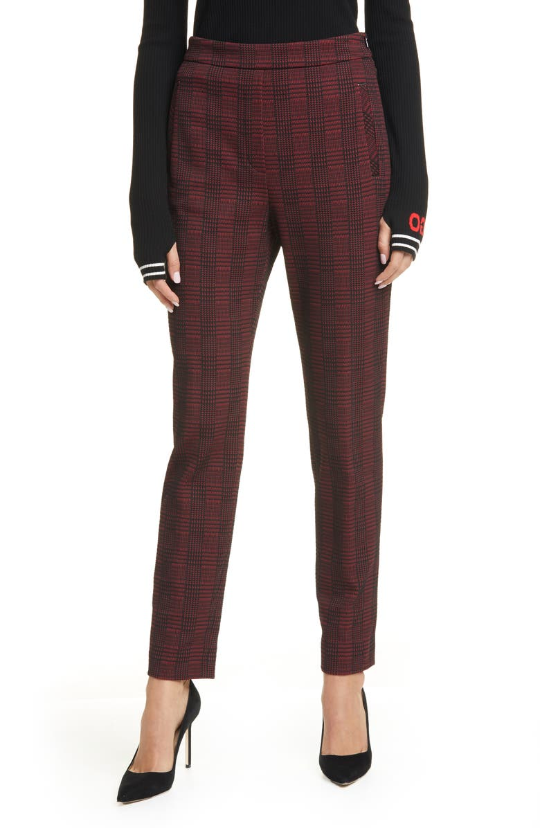 HUGO Hanette Plaid Ankle Pants, Main, color, BRICK RED