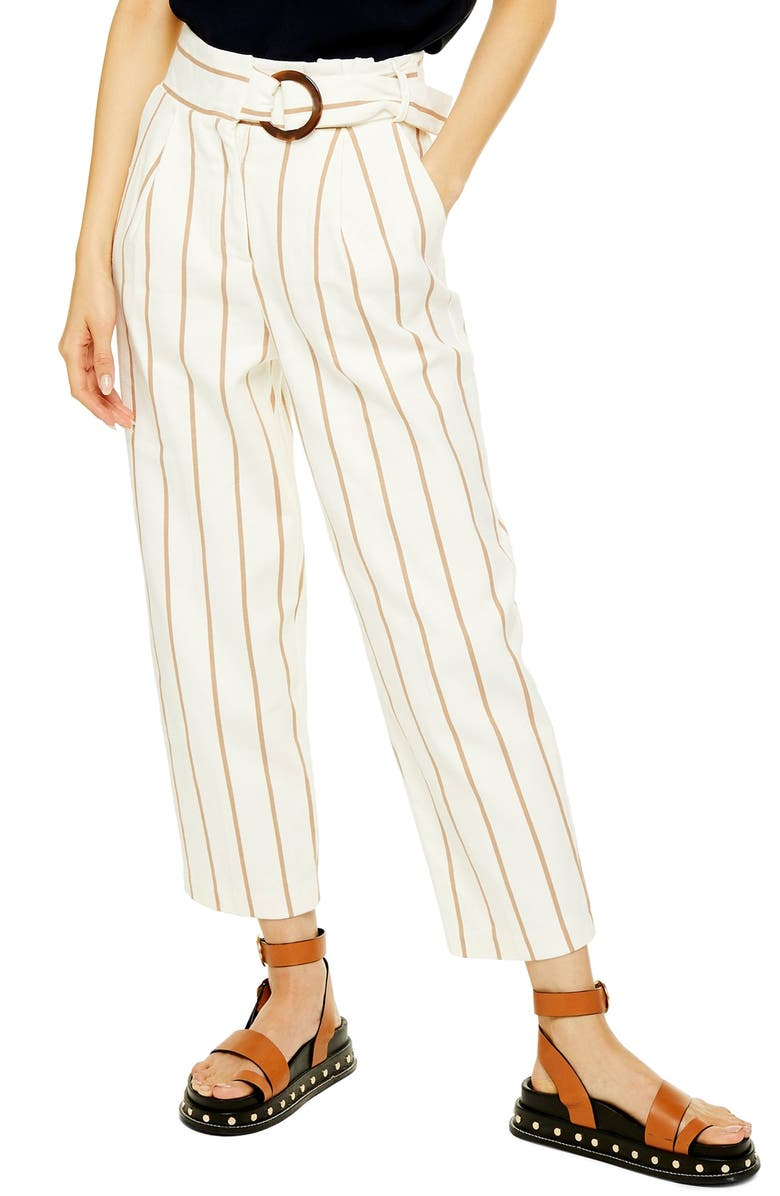 TOPSHOP Stripe Peg Trousers, Main, color, BEIGE MULTI