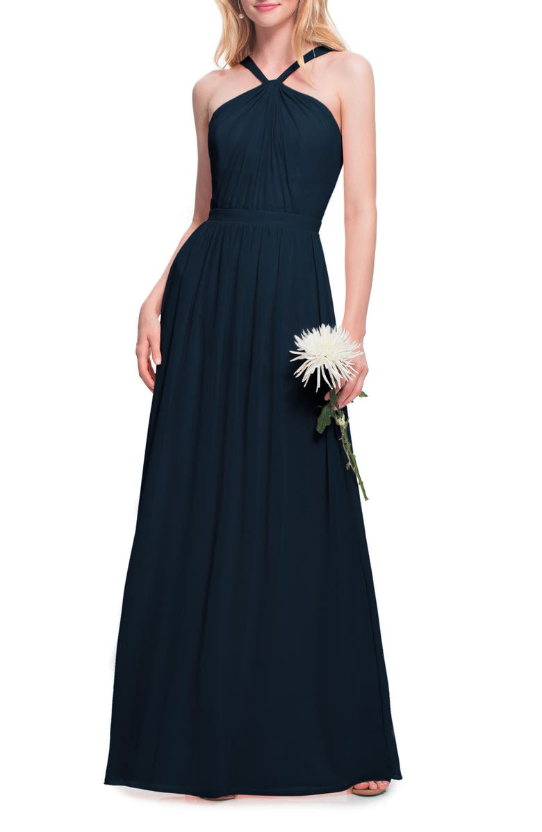 #LEVKOFF Halter Neck Chiffon Gown, Main, color, NAVY