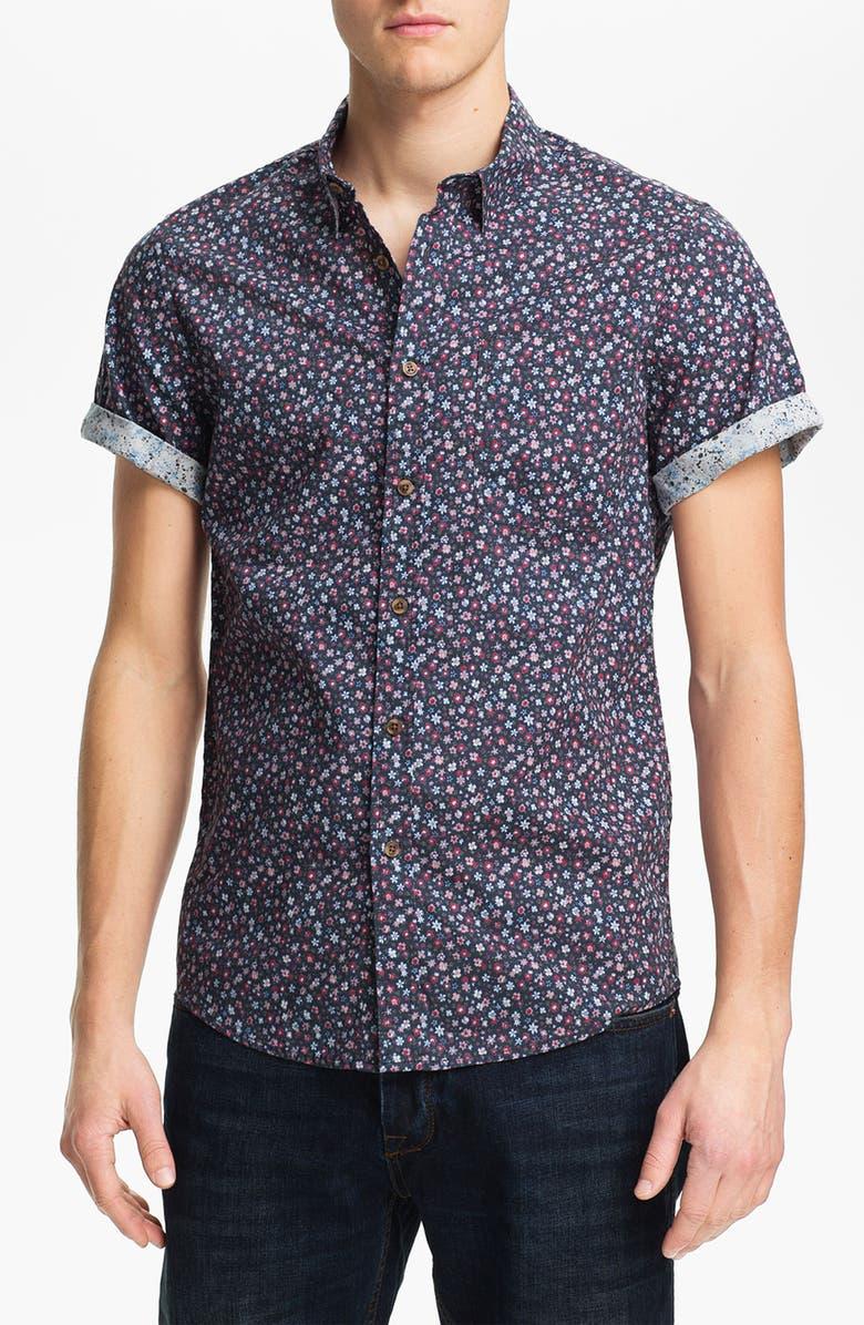 TOPMAN Floral Print Shirt, Main, color, 410