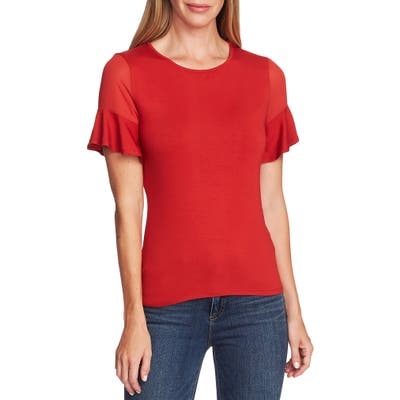 Vince Camuto Mix Media Flutter Sleeve Top, Red