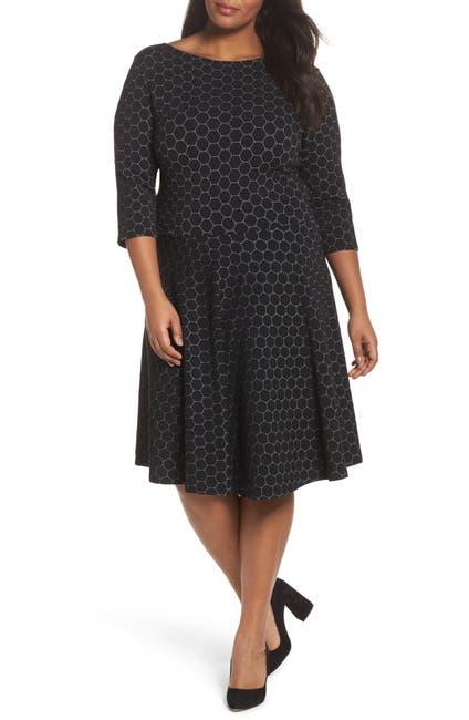 Image of Leota Stretch Knit 3/4 Sleeve Fit & Flare Dress