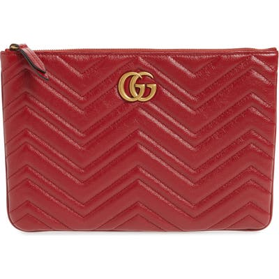 Gucci Gg Marmont 2.0 Matelasse Leather Pouch - Red
