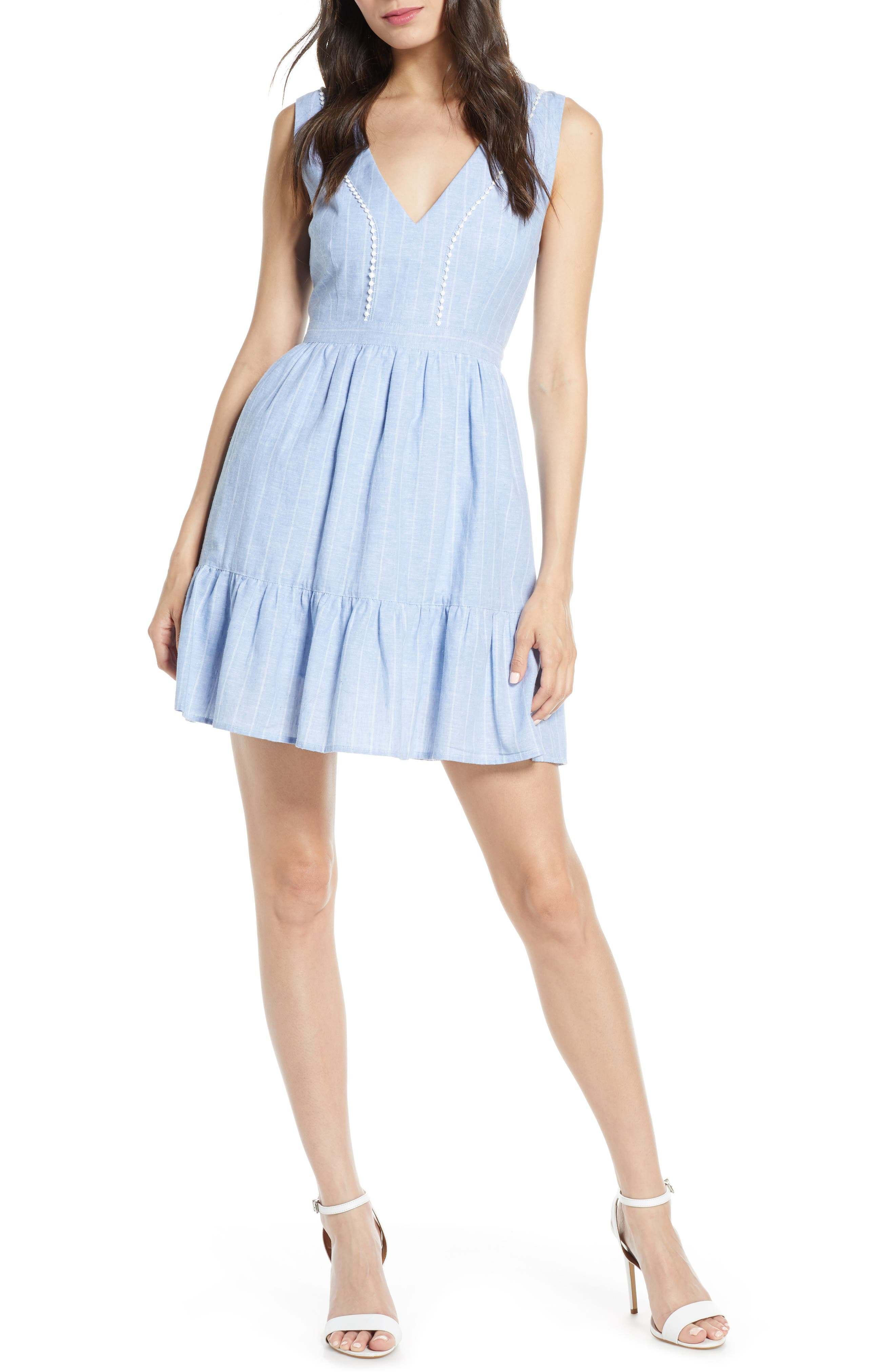 It's a Date Linen & Cotton Sundress, Main, color, CHAMBRAY