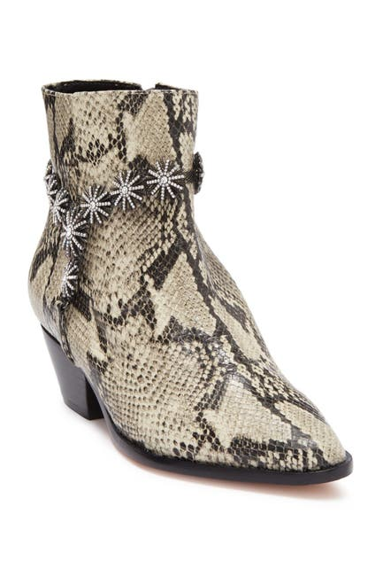 Image of Schutz Natiely Leather Snakeskin Embossed Embellished Ankle Boot