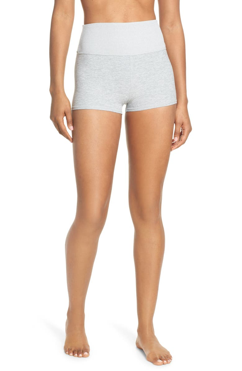 ALO Aura Bike Shorts, Main, color, ZINC HEATHER