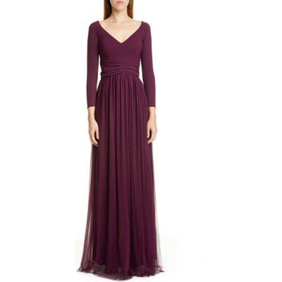 Chiara Boni La Petite Robe Liene Long Sleeve Gathered A-Line Gown, US / 40 IT - Burgundy
