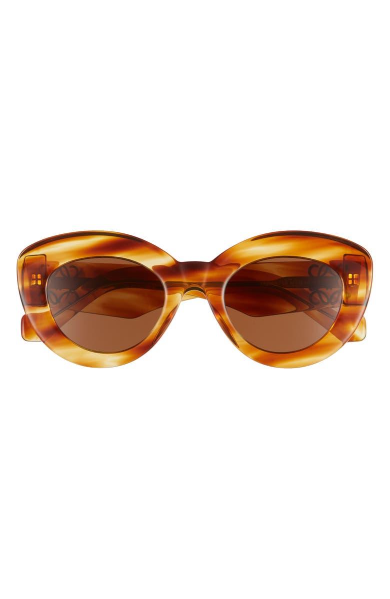 LOEWE 50mm Round Sunglasses, Main, color, BLONDE HAVANA/ BROWN