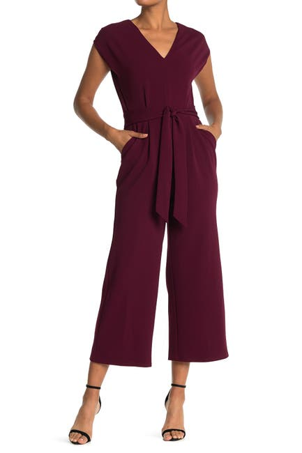 Image of London Times Waist Tie Sleeveless Cropped Jumpsuit