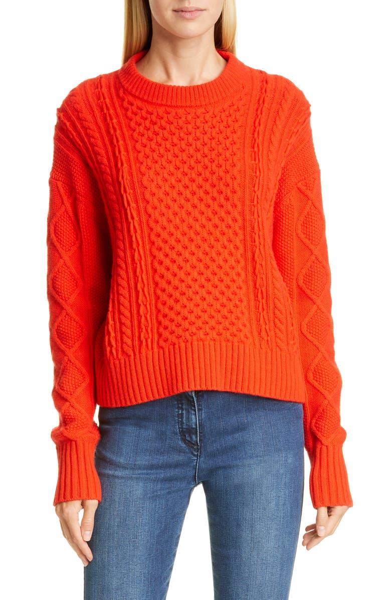ST. JOHN COLLECTION Drop Shoulder Aran Sweater, Main, color, GERANIUM