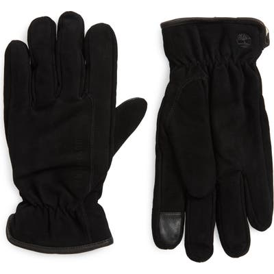Timberland Nubuck Leather Touchscreen Gloves, Black