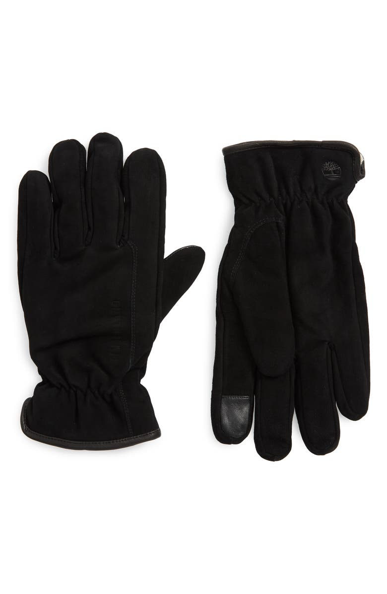 TIMBERLAND Nubuck Leather Touchscreen Gloves, Main, color, BLACK