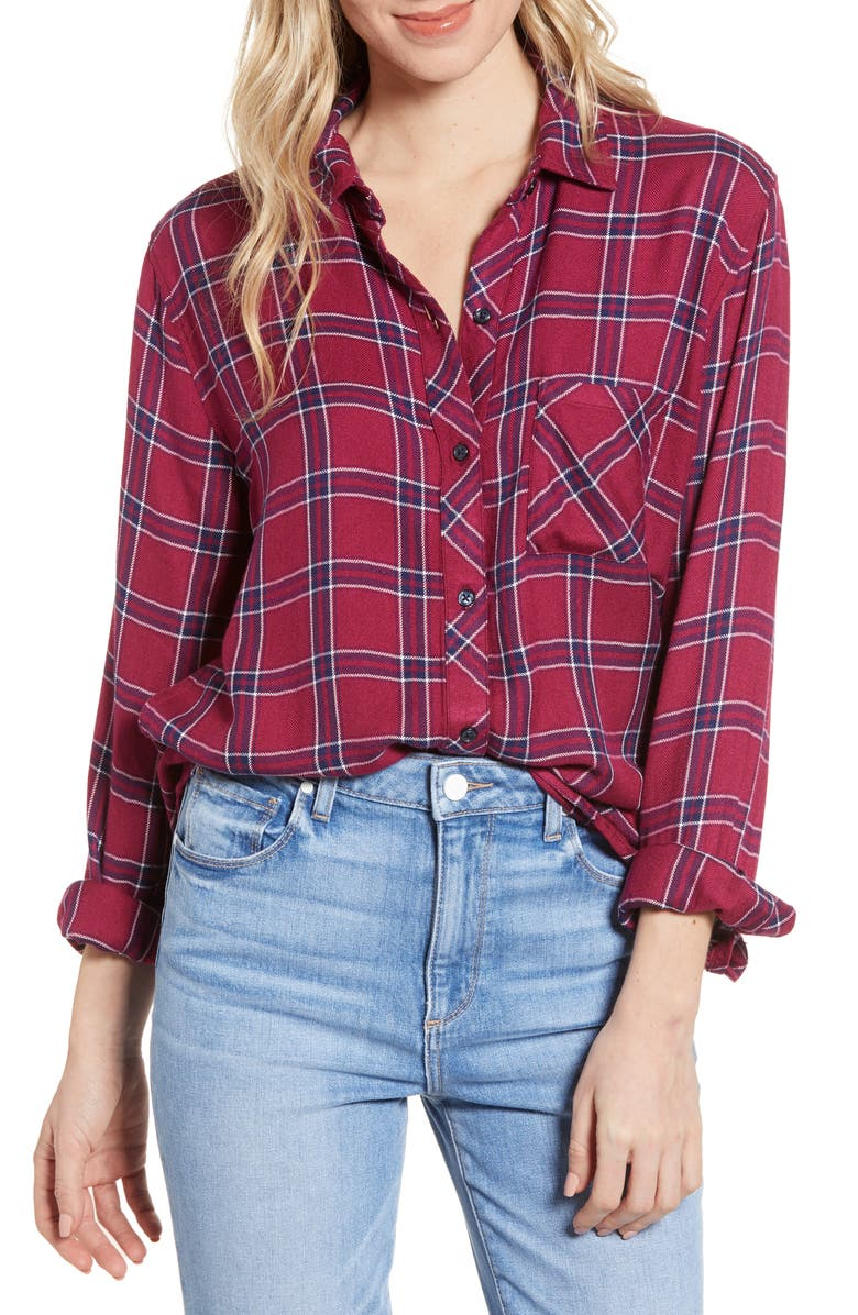 RAILS Hunter Plaid Shirt, Main, color, MERLOT NAVY