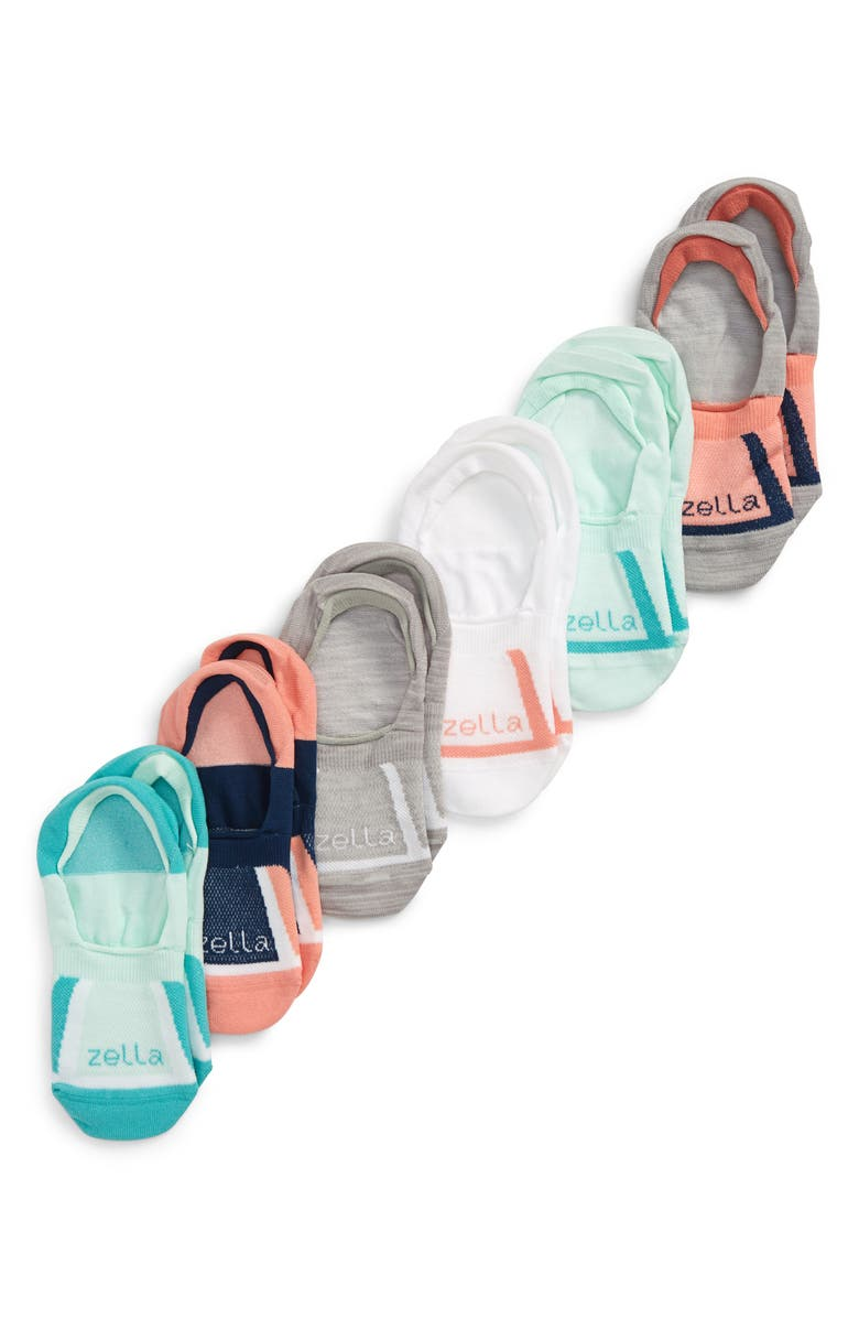 ZELLA GIRL 6-Pack No-Show Socks, Main, color, CORAL CLAY MULTI