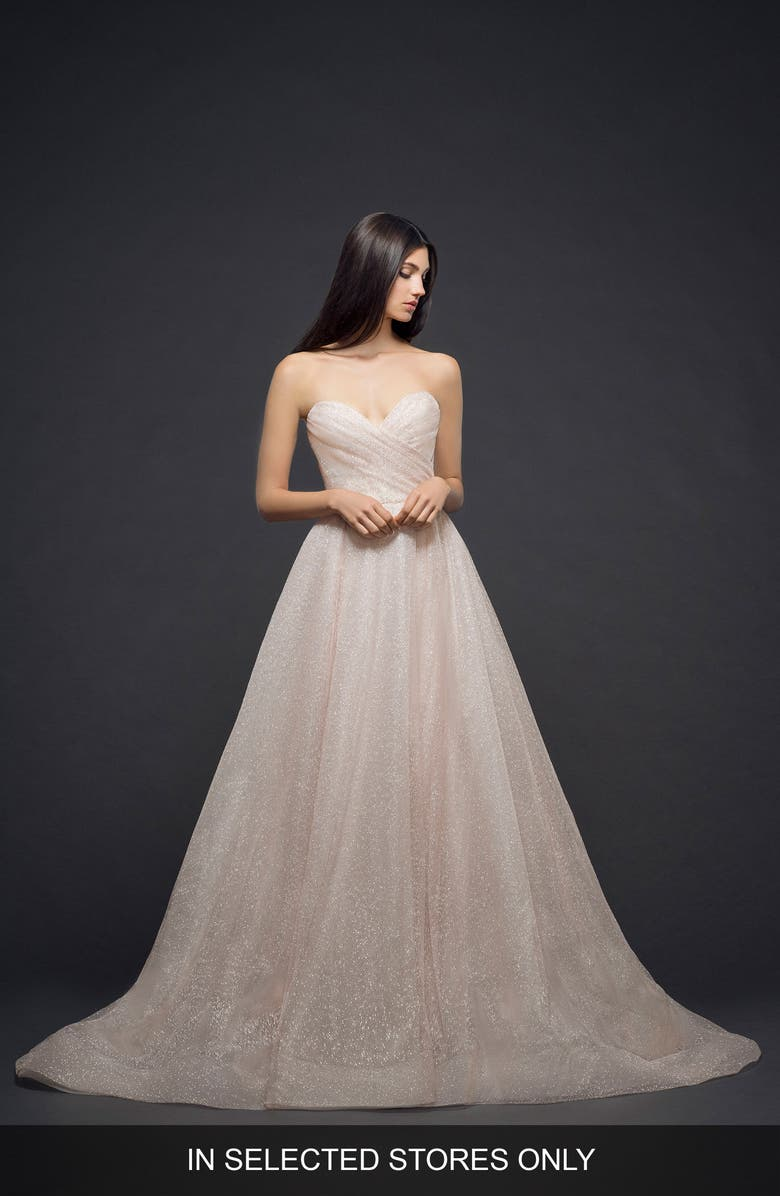 LAZARO Strapless Sparkle Tulle Ballgown, Main, color, 650