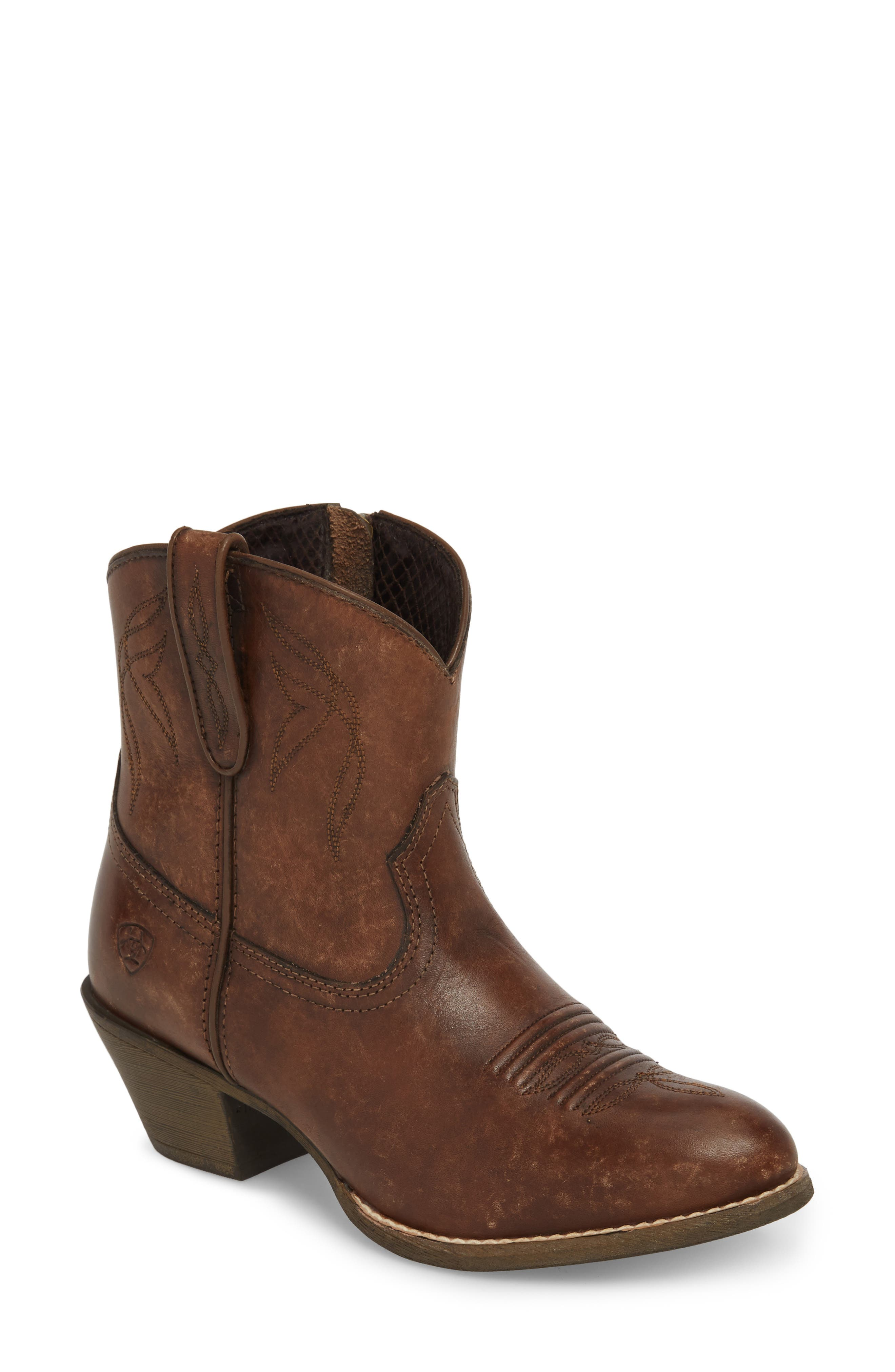 ,                             Darlin Short Western Boot,                             Main thumbnail 1, color,                             DISTRESSED BROWN LEATHER