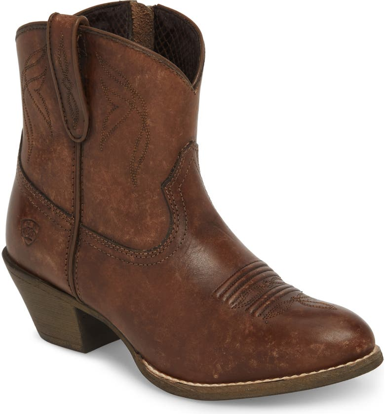 ARIAT Darlin Short Western Boot, Main, color, DISTRESSED BROWN LEATHER