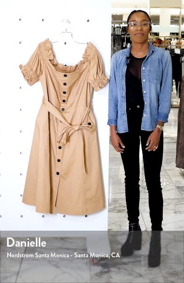 Off the Shoulder Trench Dress, sales video thumbnail